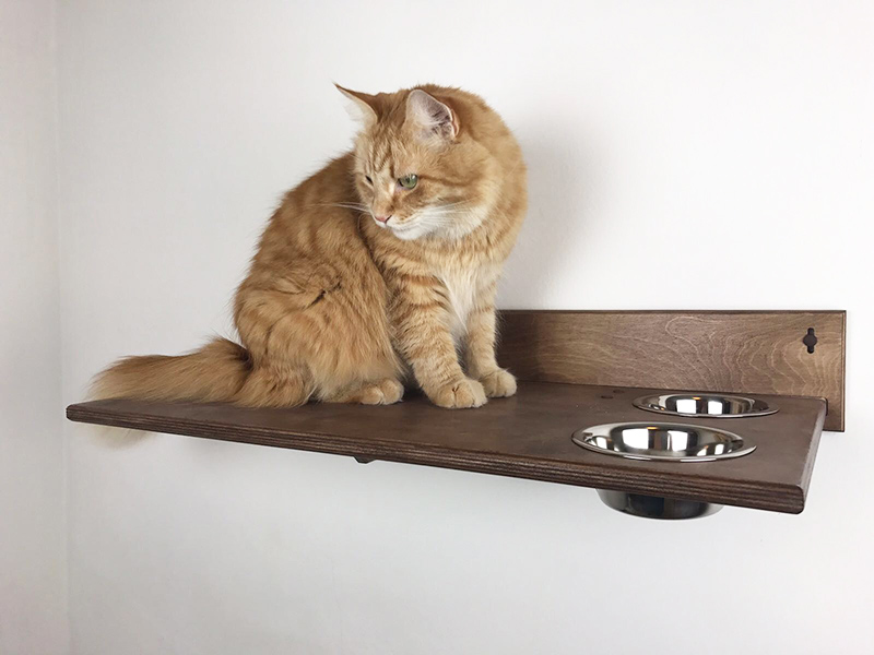 Cat Shelf With Bowls Made In Italy Athleticat It