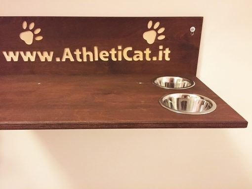Cat shelf with bowls and writing