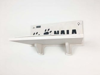 Cat shelf with carved name