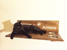 Orione cat shelf with bowls writing