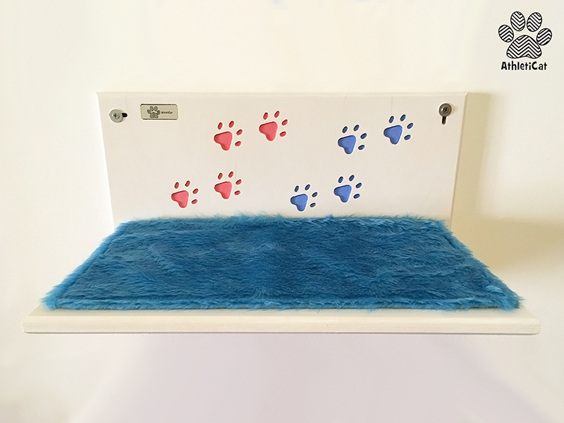 Shelf for cats with writing
