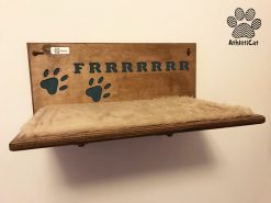 Wooden cat shelf with carved name
