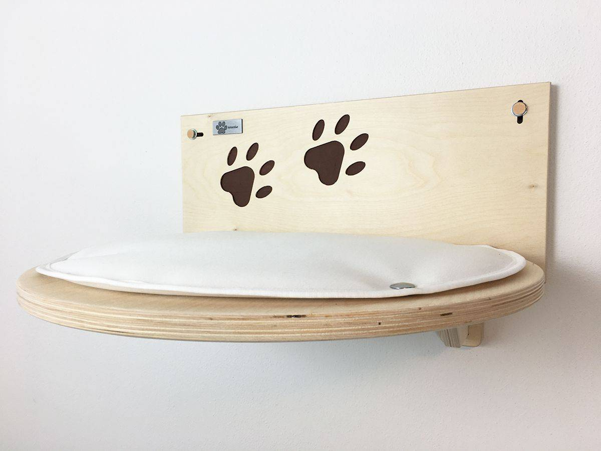 Cat shelf with carved paw